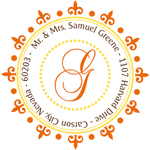 Name Doodles - Round Address Labels/Stickers (Woodbury Orange)